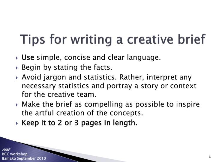 Tips for writing a creative brief