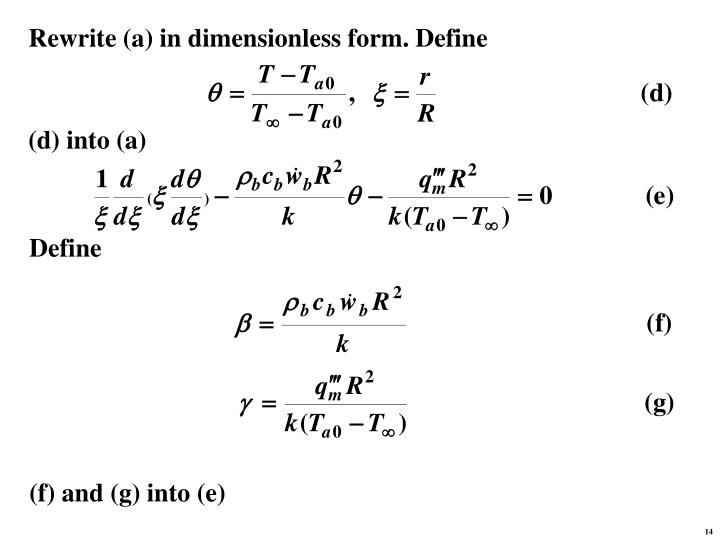 Rewrite (a) in dimensionless form. Define