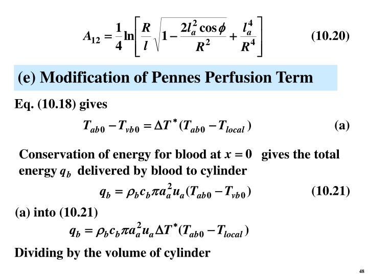 (e) Modification of Pennes Perfusion Term