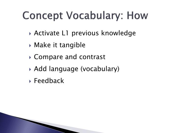 Concept Vocabulary: How