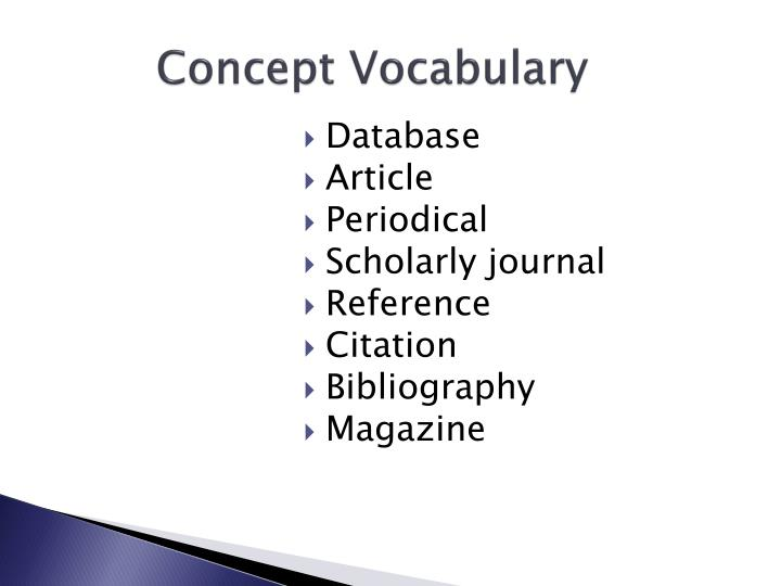 Concept Vocabulary