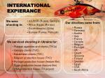 international expierance