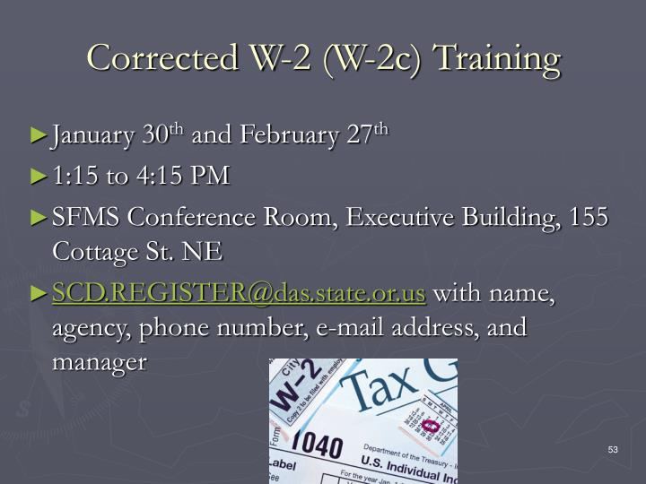 Corrected W-2 (W-2c) Training