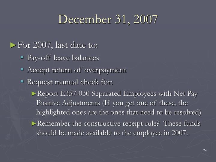 December 31, 2007