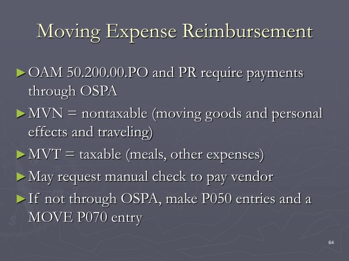 Moving Expense Reimbursement