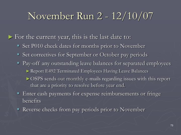 November Run 2 - 12/10/07