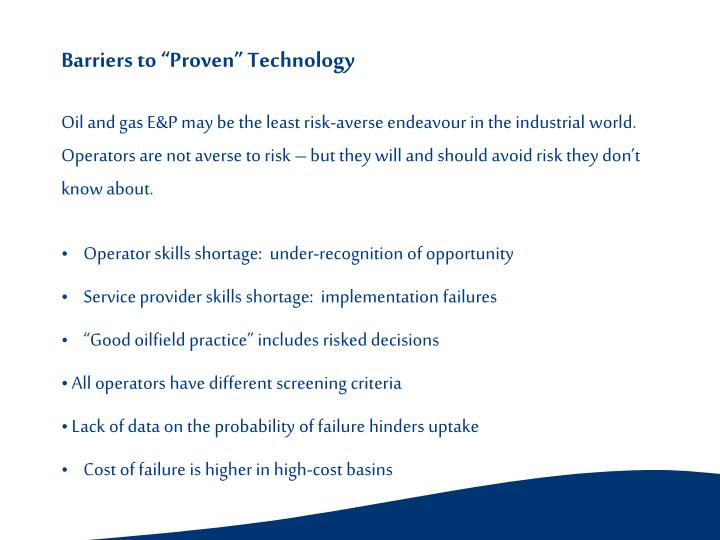 "Barriers to ""Proven"" Technology"