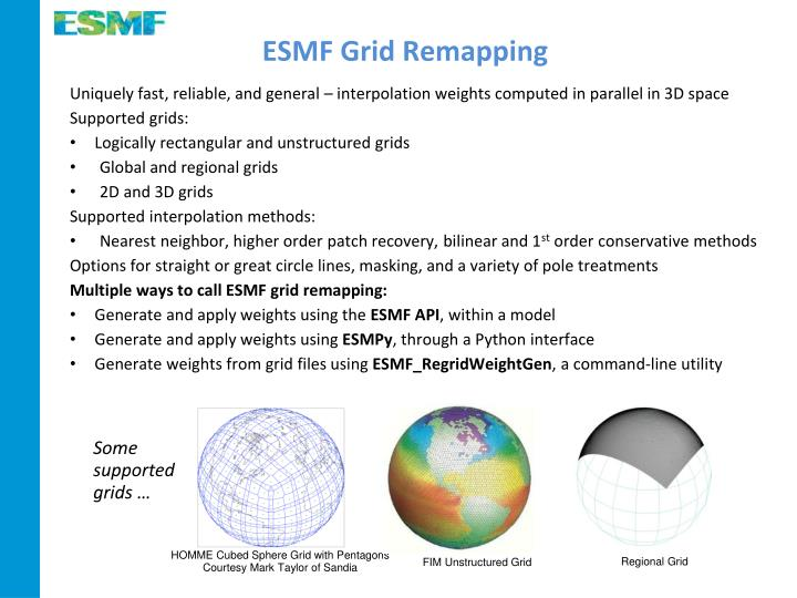 ESMF Grid Remapping