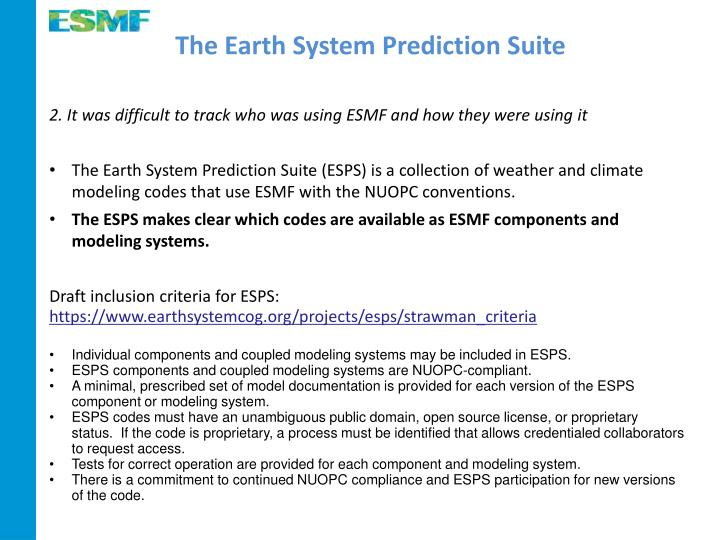 The Earth System Prediction Suite
