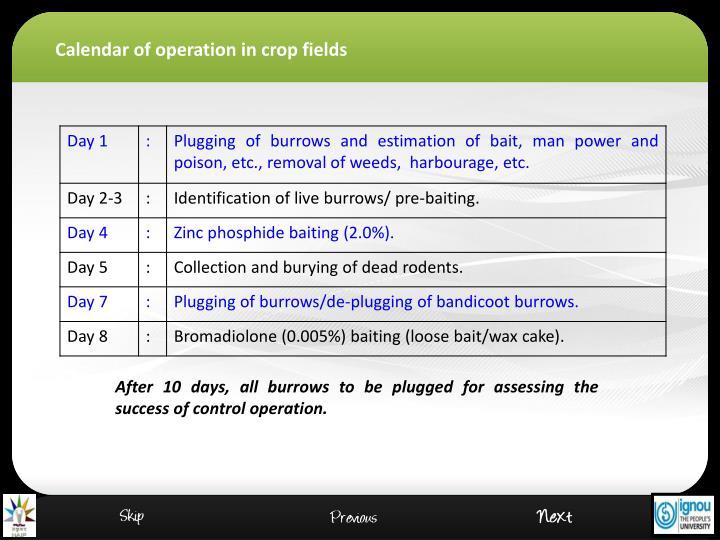 Calendar of operation
