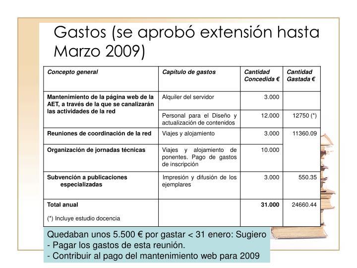 Gastos (se aprobó extensión hasta Marzo 2009)