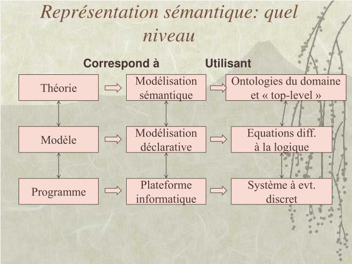 Représentation sémantique: quel niveau