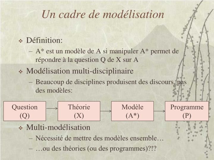 Un cadre de modélisation