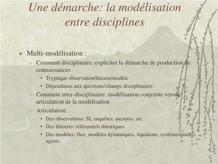 Une démarche: la modélisation entre disciplines