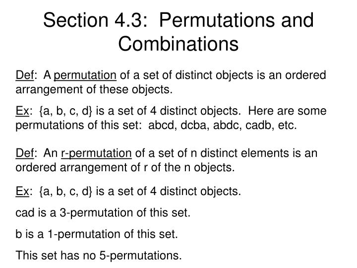 Section 4.3:  Permutations and Combinations