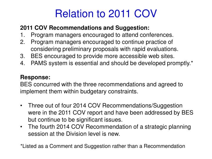 2011 COV Recommendations and Suggestion: