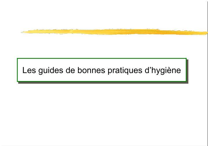 Les guides de bonnes pratiques d'hygiène