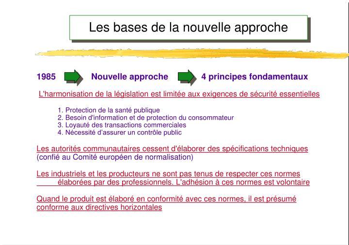 1985               Nouvelle approche              4 principes fondamentaux