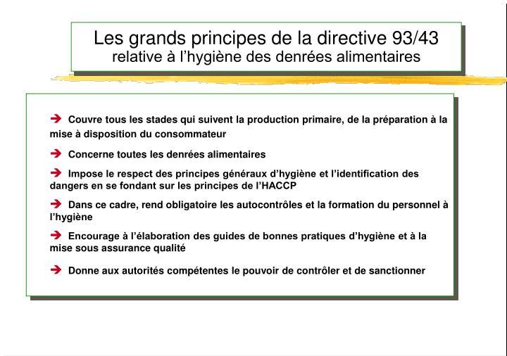 Les grands principes de la directive 93/43
