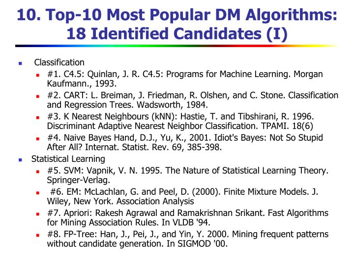 10. Top-10 Most Popular DM Algorithms: