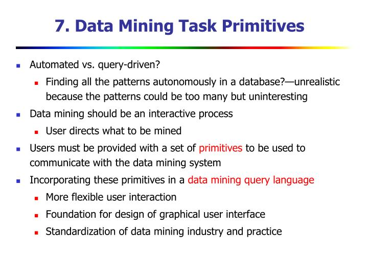 7. Data Mining Task Primitives