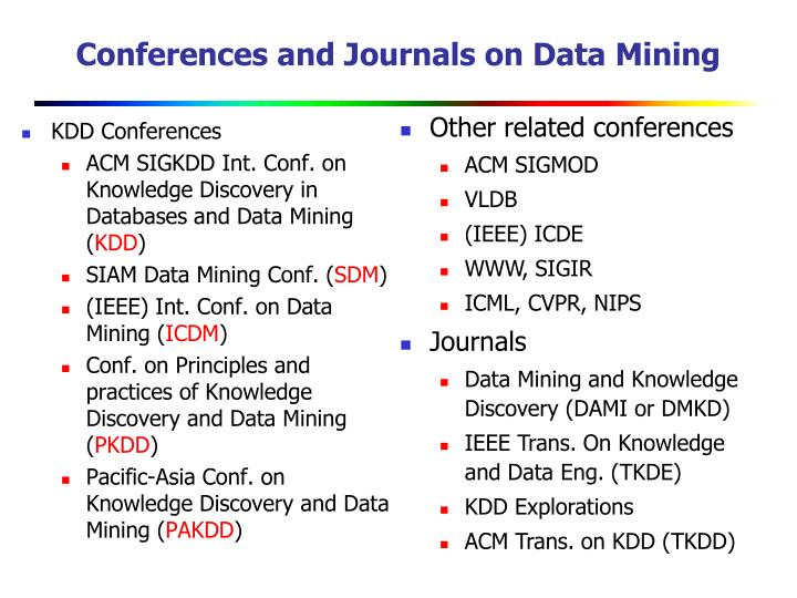 Conferences and Journals on Data Mining