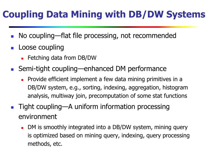 Coupling Data Mining with DB/DW Systems
