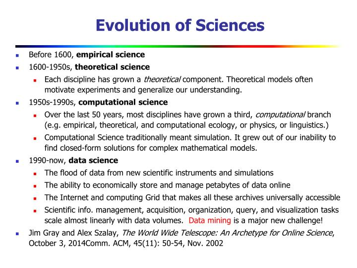 Evolution of Sciences
