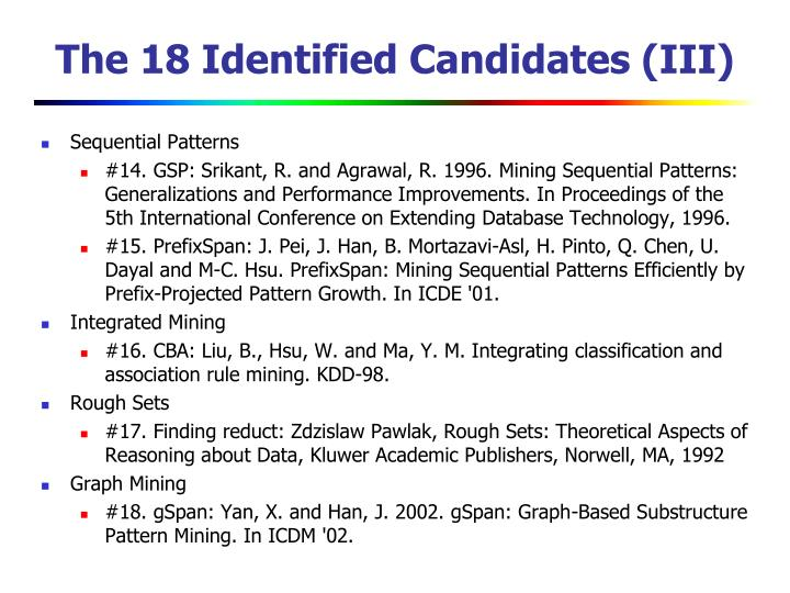 The 18 Identified Candidates (III)