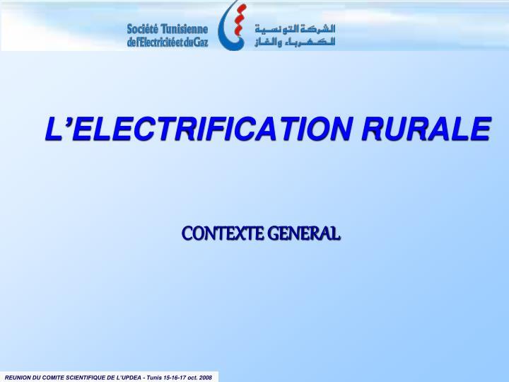 L'ELECTRIFICATION RURALE
