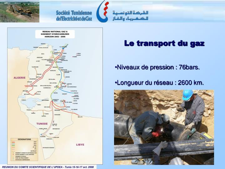 Le transport du gaz