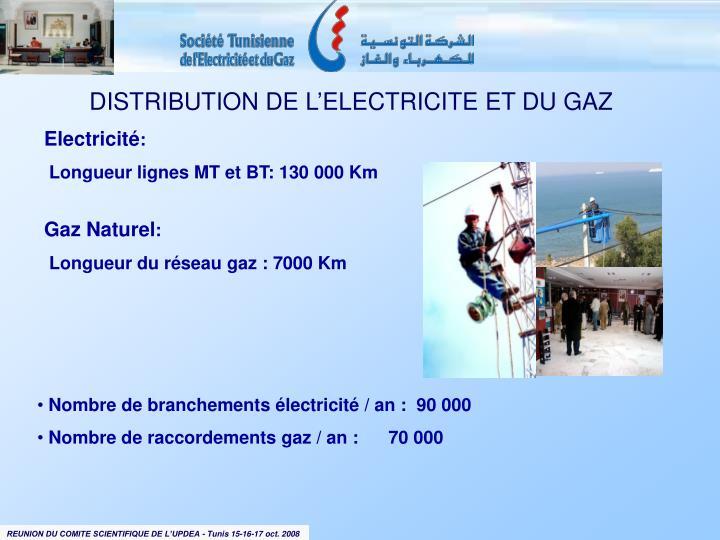 DISTRIBUTION DE L'ELECTRICITE ET DU GAZ
