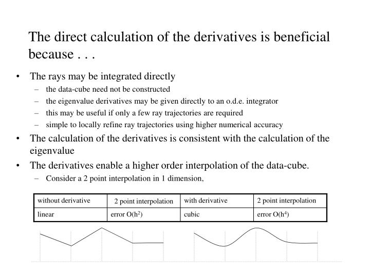The direct calculation of the derivatives is beneficial because . . .