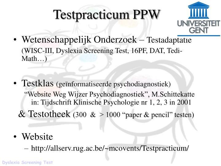 Testpracticum PPW