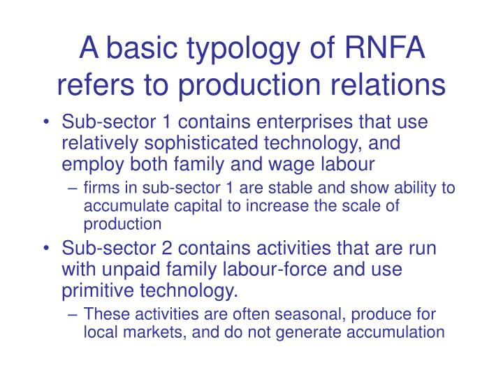 A basic typology of RNFA refers to production relations