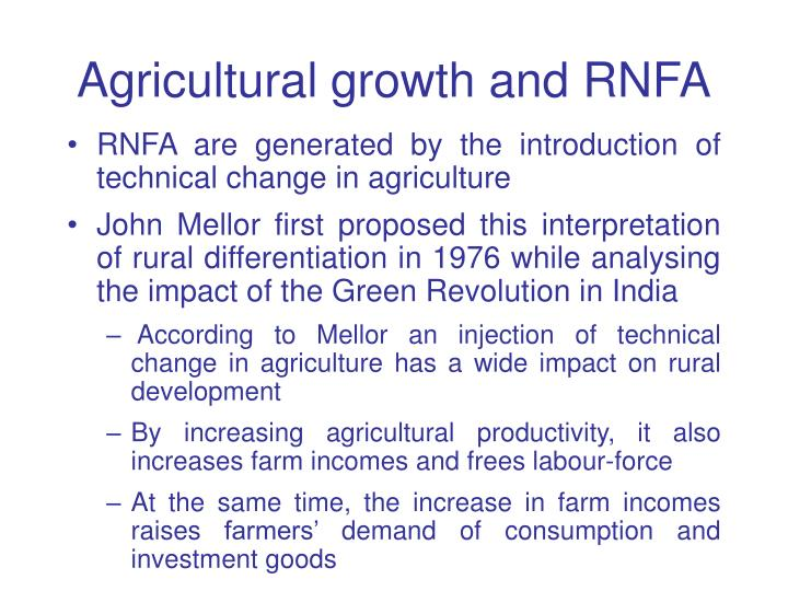 Agricultural growth and RNFA