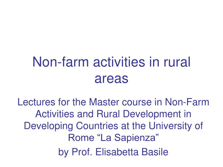 Non-farm activities in rural areas