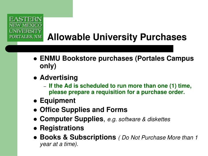 Allowable University Purchases