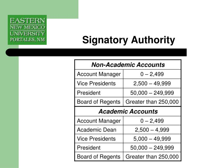 Signatory Authority