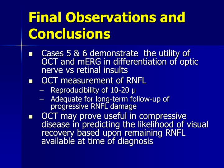 Final Observations and Conclusions