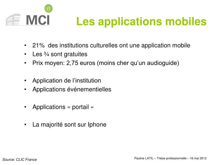 21%  des institutions culturelles ont une application mobile