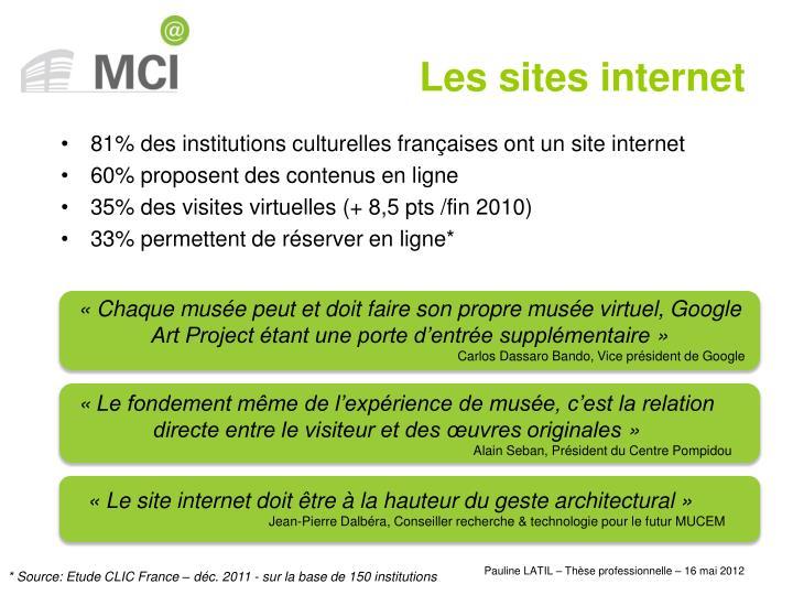 81% des institutions culturelles françaises ont un site internet
