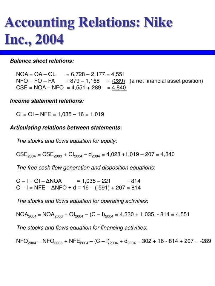 Accounting Relations: Nike Inc., 2004