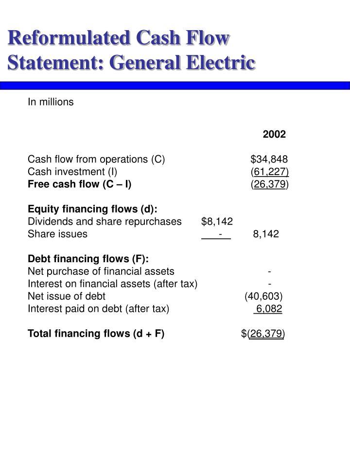 Reformulated Cash Flow Statement: General Electric