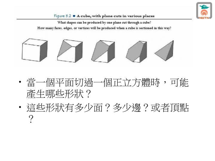 當一個平面切過一個正立方體時,可能產生哪些形狀?
