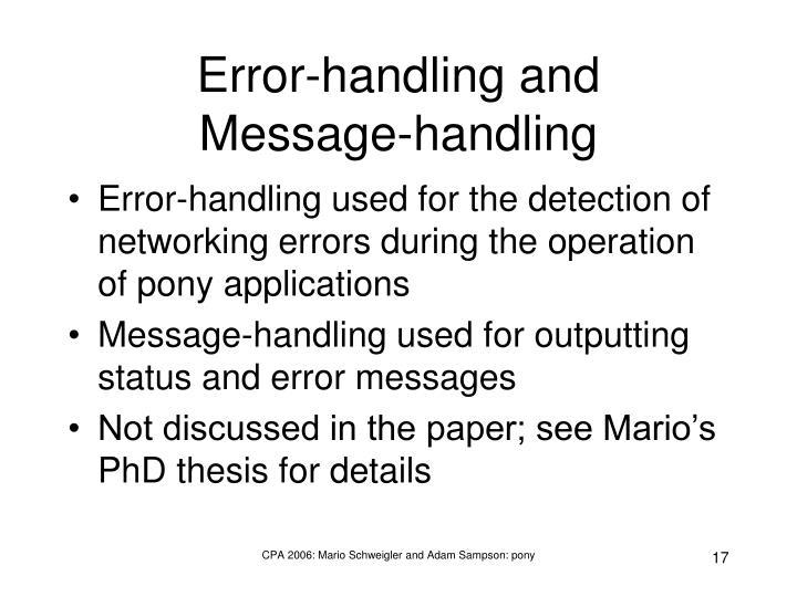 Error-handling and