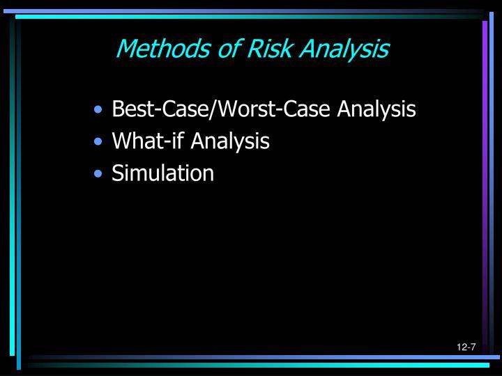 Methods of Risk Analysis