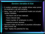 random variables risk