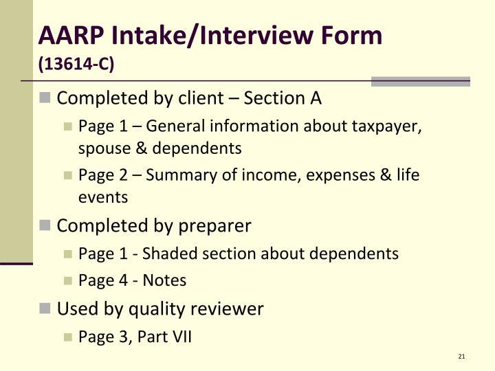 AARP Intake/Interview Form
