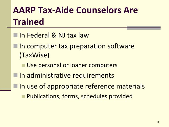 AARP Tax-Aide Counselors Are Trained